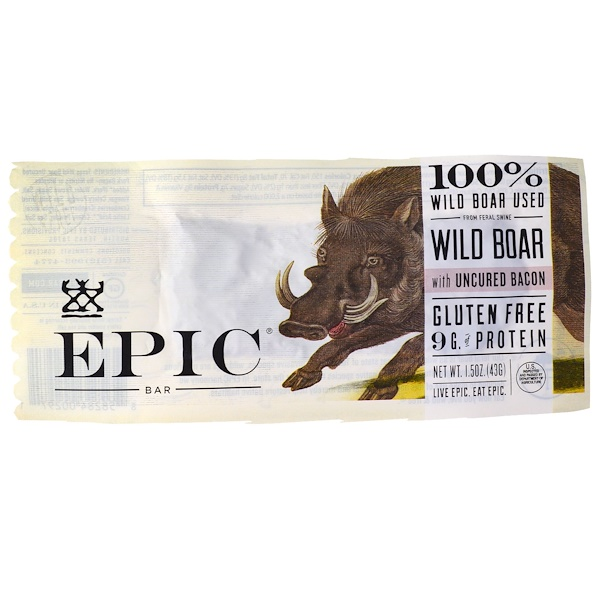 Epic Bar, Wild Boar with Uncured Bacon Bar, 12 Bars (1.5 oz (436) Each (Discontinued Item)