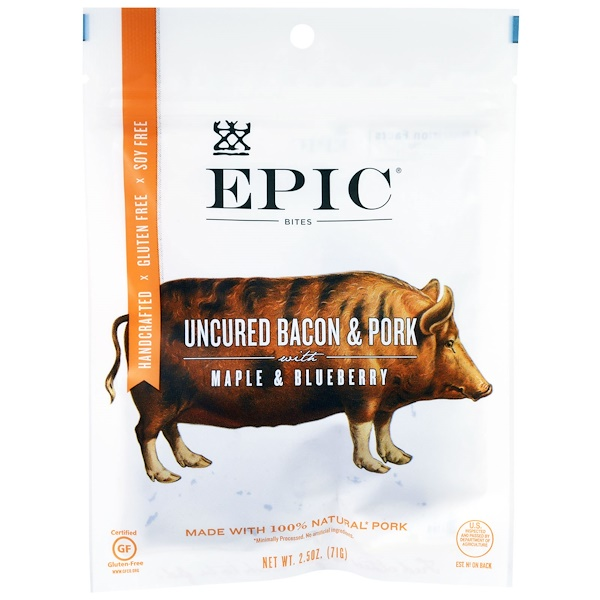 Epic Bar, Uncured Bacon & Pork with Maple & Blueberry Bites , 2.5 oz (71 g) (Discontinued Item)
