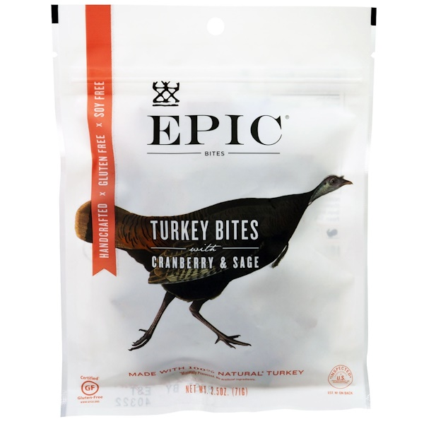 Epic Bar, Turkey Bites with Cranberry & Sage, 2.5 oz (71 g) (Discontinued Item)
