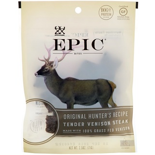 Epic Bar, Bocados, Filete Tierno de Venado, Receta original del cazador, 2.5 oz (71 g)