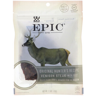 Epic Bar, Bites, Venison Steak with Beef, 2.5 oz (71 g)