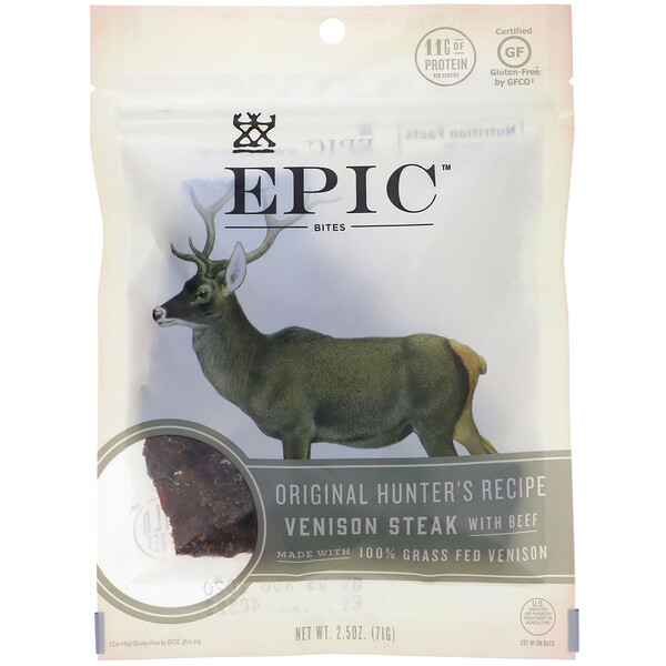 Epic Bar, Bites, Venison Steak with Beef, 2.5 oz (71 g)