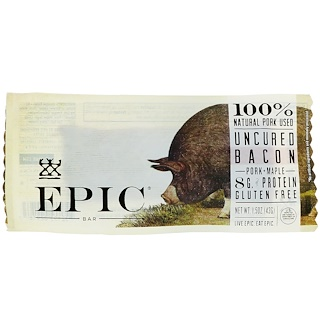 Epic Bar, Uncured Bacon, Pork + Maple Bar, 12 Bars, 1.5 oz (43 g) Each