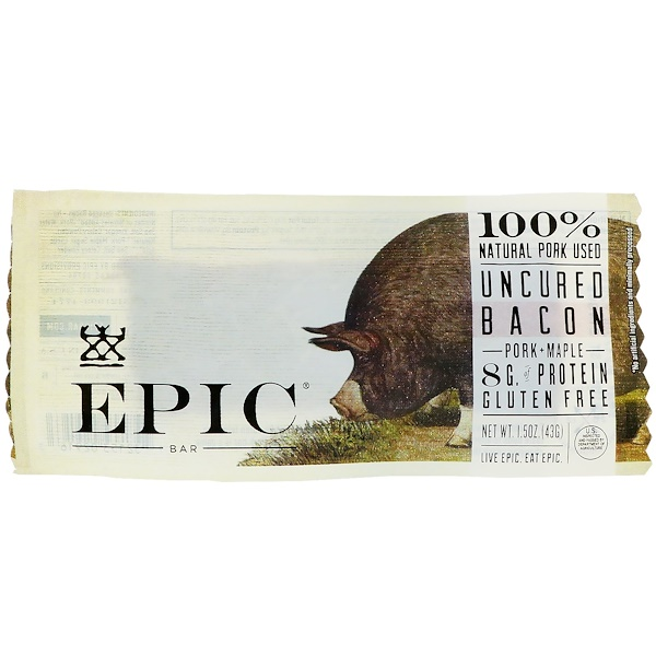 Epic Bar, Uncured Bacon, Pork + Maple Bar, 12 Bars, 1.5 oz (43 g) Each