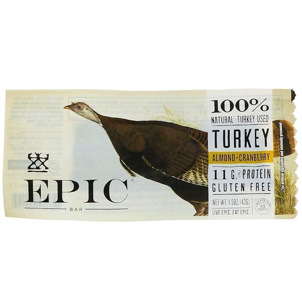 Epic Bar, 火雞,杏仁 + 蔓越橘棒,12條,每條1、5 oz (43 g)