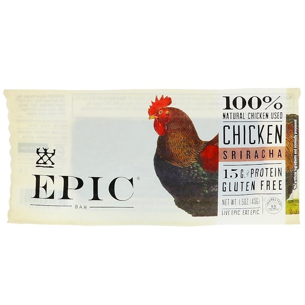 Epic Bar, Chicken Sriracha Bar, 12 Bars, 1.5 oz (43 g) Each