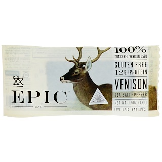 Epic Bar, Venison Sea Salt + Pepper Bar, 12 Bars, 1.5 oz (43 g) Each