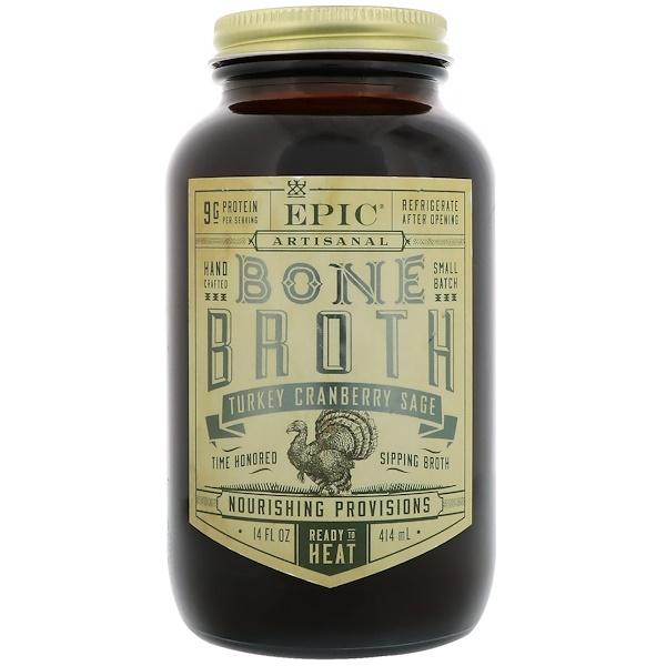 Epic Bar, Artisal Bone Broth, Turkey Cranberry Sage, 14 fl oz (414 ml)