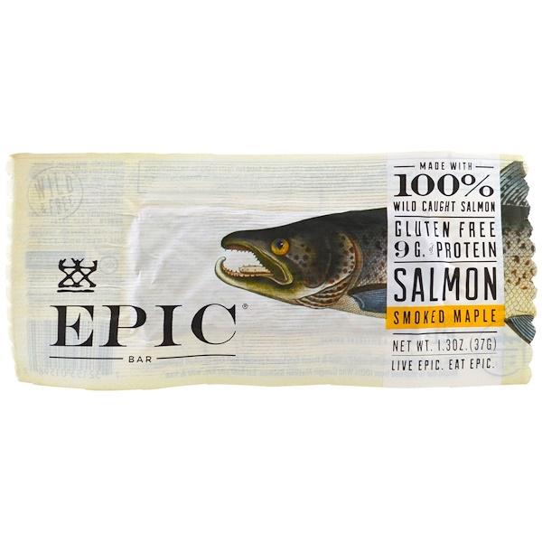 Epic Bar, Кленовый батончик c копченым лососем, 12 батончиков, 37 г (1,3 унции) каждый (Discontinued Item)