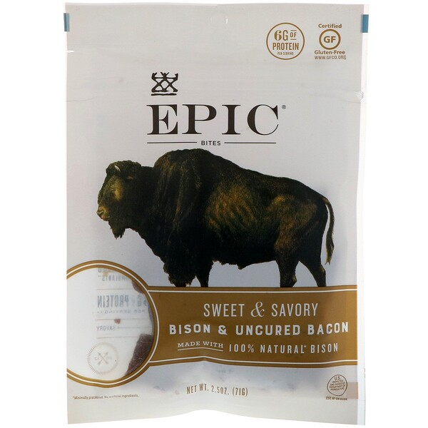 Bites, Bison & Uncured Bacon, Sweet & Savory, 2.5 oz (71 g)