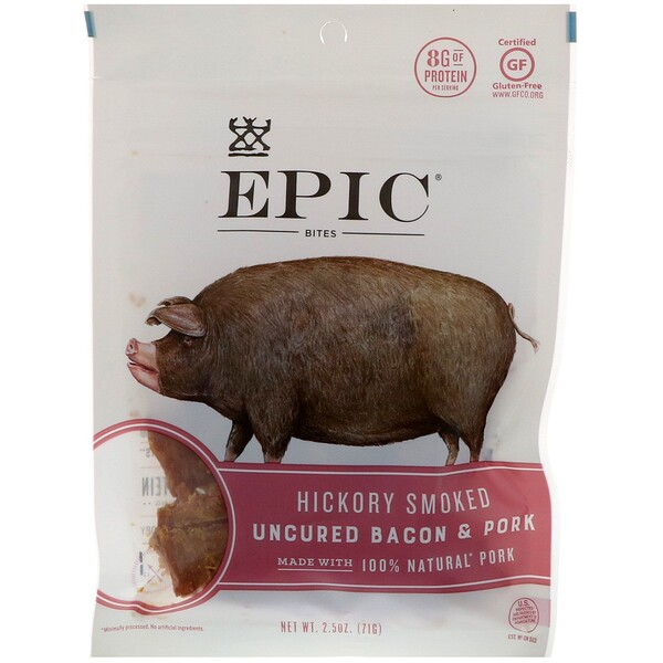 Bites, Uncured Bacon & Pork, Hickory Smoked, 2.5 oz (71 g)