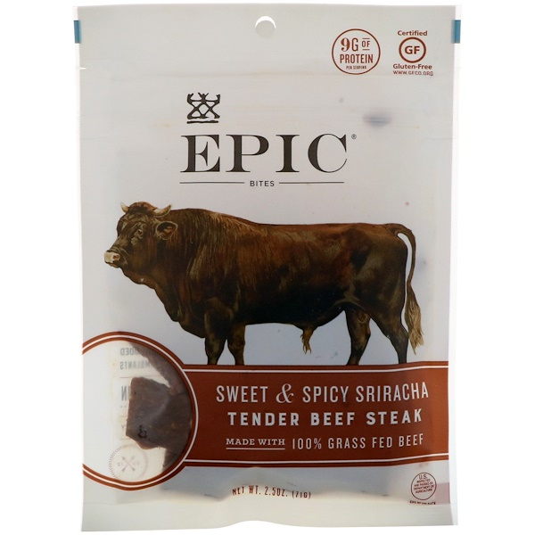 Epic Bar, Bites, Tender Beef Steak, Sweet & Spicy Sriracha, 2.5 oz (71 g) (Discontinued Item)