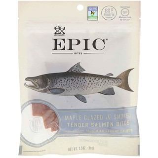 Epic Bar, Bites, Maple Glazed & Smoked, Tender Salmon, 2.5 oz (71 g)