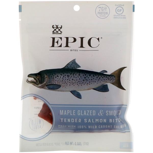 Epic Bar, 楓香煙熏嫩鮭魚肉乾,2、5盎司(71克)