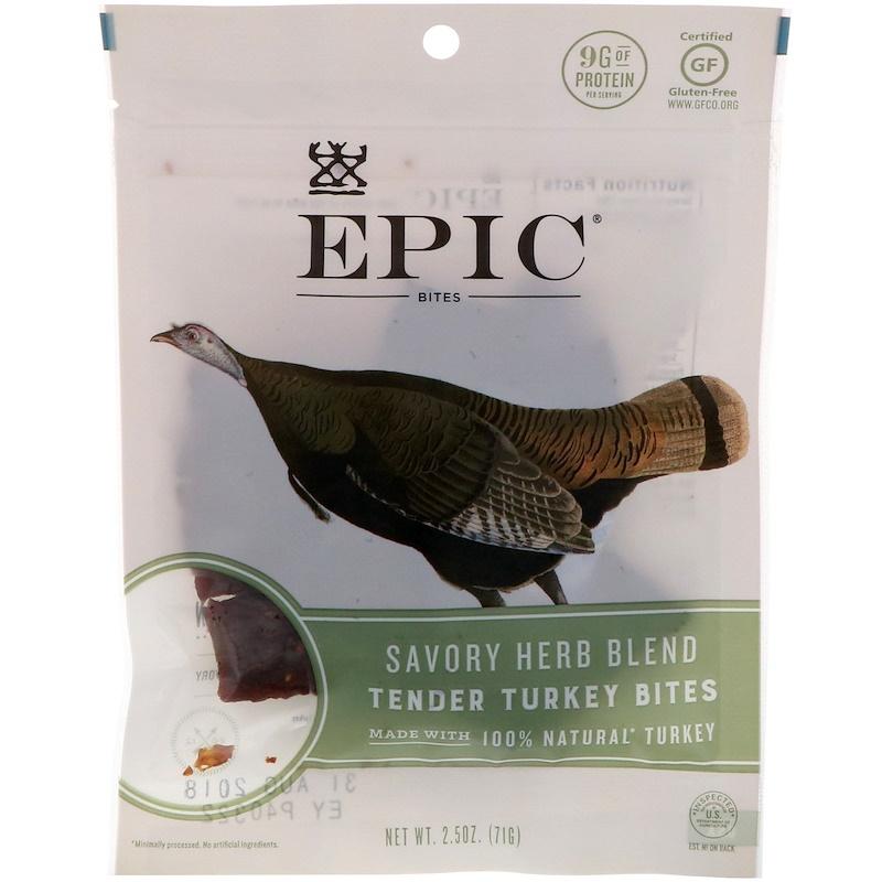Epic Bar, 肉乾,嫩火雞肉,美味草本調料,2.5盎司(71克)