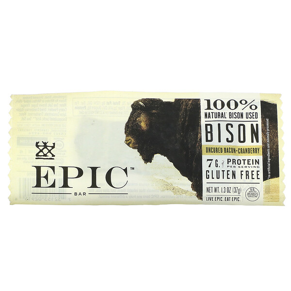 Bison, Uncured Bacon + Cranberry, 1 Bar, 1.3 oz (37 g)