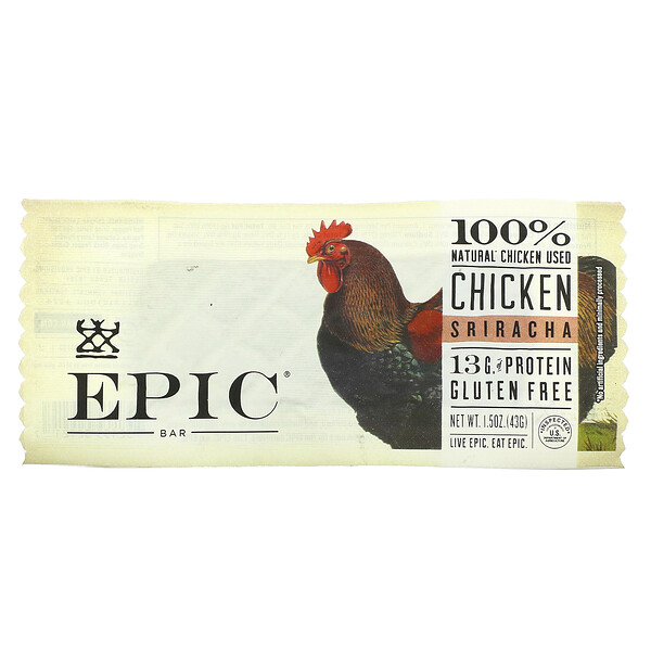 Epic Bar, Chicken Sriracha Bar, 1 Bar, 1.5 oz (43 g)