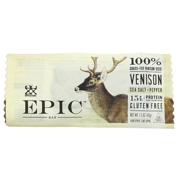 Venison, Sea Salt + Pepper, 1 Bar, 1.5 oz ( 43 g)