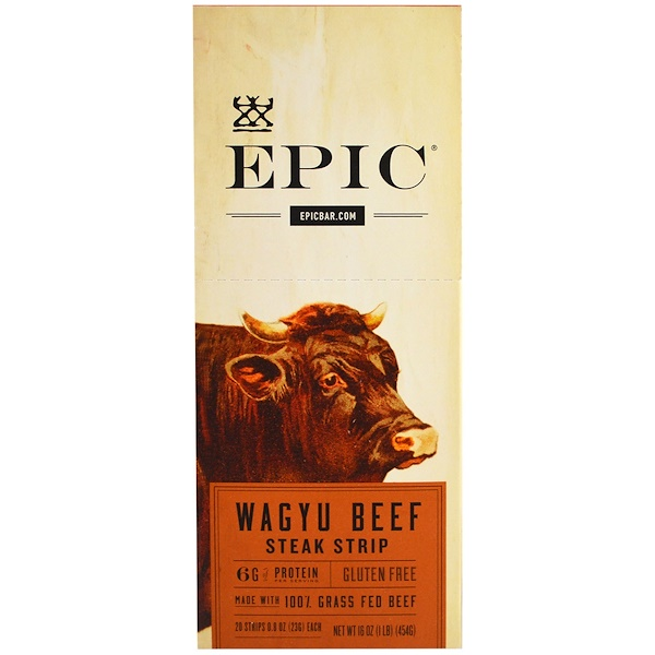 Epic Bar, Wagyu Beef Steak Strip, 20 Strips, 0.8 oz (23 g) Each