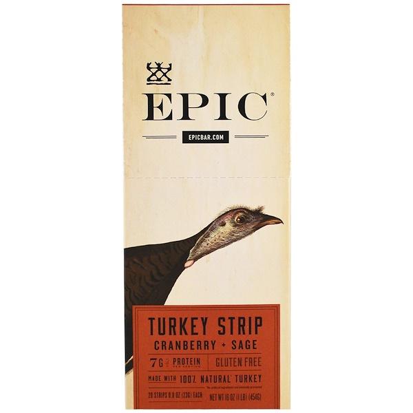 Epic Bar, Полоски из индейки с клюквой и шалфеем, 20 полосок по 23 г (0,8 унций) каждая (Discontinued Item)