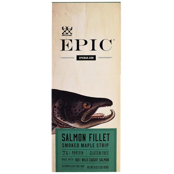 Epic Bar, Salmon Fillet Smoked Maple Strip, 20 Strips, 0.8 oz (23 g) Each (Discontinued Item)