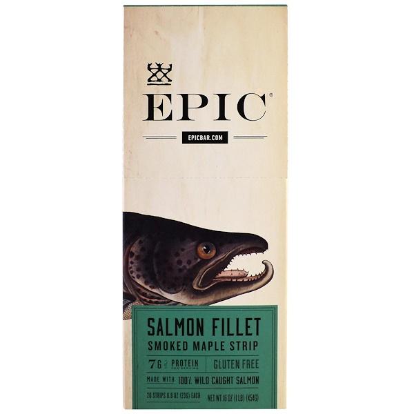 Epic Bar, Кленовые полоски копченого лосося, 20 полосок, 0,8 унции (23 г)