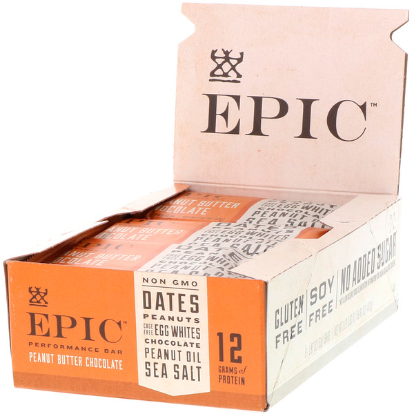 Epic Bar, Performance Bar, Peanut Butter Chocolate, 9 Bars, 1.87 oz (53 g) Each