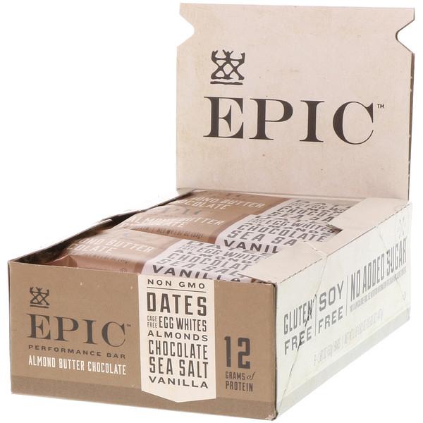 Epic Bar, Performance Bar، شوكولا زبدة اللوز، 9 ألواح، 1.87 أوقية (53 جم) لكل لوح (Discontinued Item)