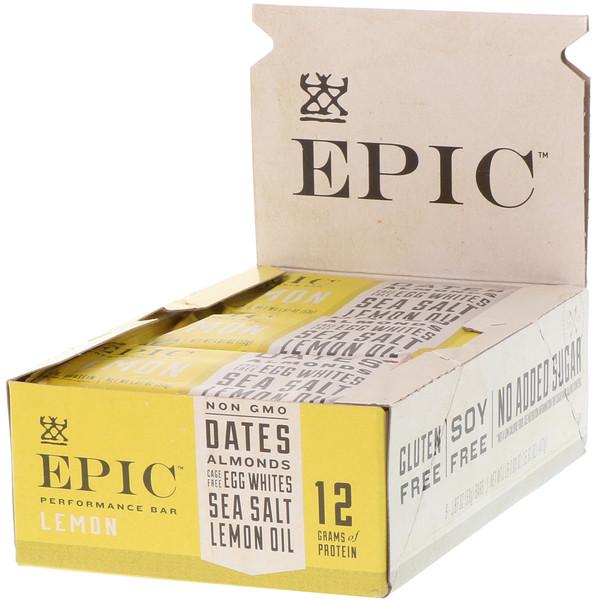 Epic Bar, Performance Bar, Lemon, 9 Bars, 1.87 oz (53 g) Each (Discontinued Item)