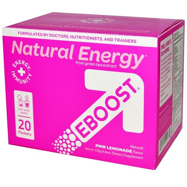 EBOOST, Natural Energy, Pink Lemonade, 20 Packets, 6.8 g Each (Discontinued Item)