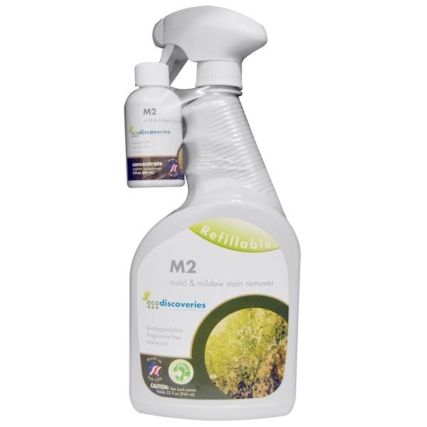 EcoDiscoveries, M2 Mold & Mildew Stain Remover, 2 fl oz (60 ml) Concentrate w/ 1 Spray Bottle (Discontinued Item)