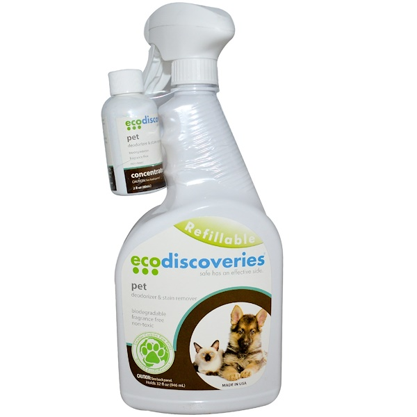 EcoDiscoveries, Pet Deodorizer & Stain Remover, 2 fl oz ( 60 ml) Concentrate w/ 1 Spray Bottle (Discontinued Item)