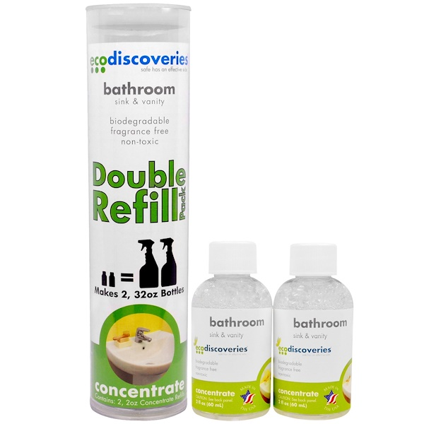 EcoDiscoveries, Bathroom Cleaner, Sink & Vanity, Double Refill Pack, 2 Bottles, 2 fl oz (60 ml) (Discontinued Item)
