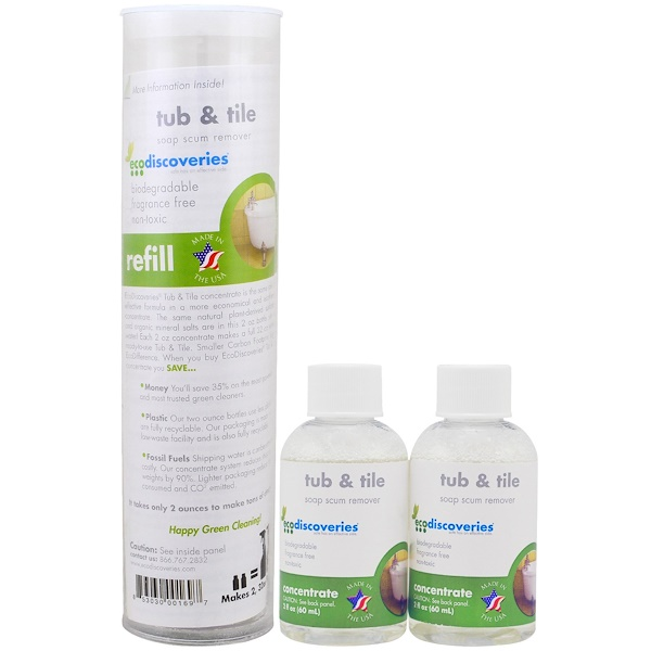 EcoDiscoveries, Tub & Tile Soap Scum Remover, Double Refill Pack, 2 - 2 fl oz (60 ml) Each (Discontinued Item)