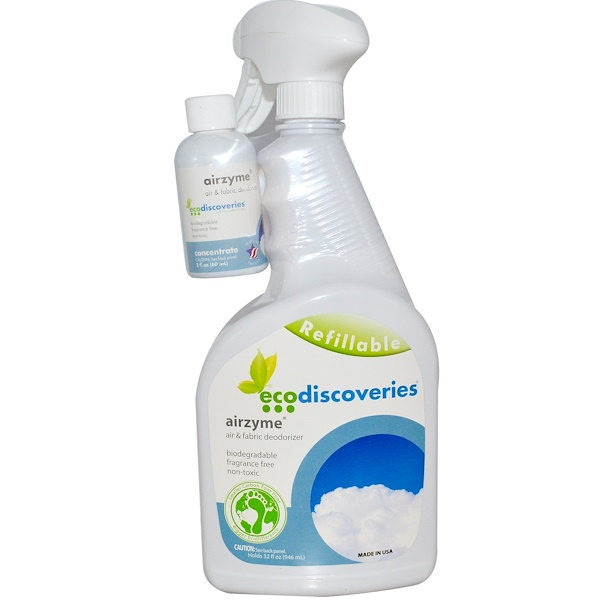 EcoDiscoveries, Airzyme, Air & Fabric Deodorizer, 2 fl oz ( 60 ml) Concentrate w/ 1 Spray Bottle (Discontinued Item)