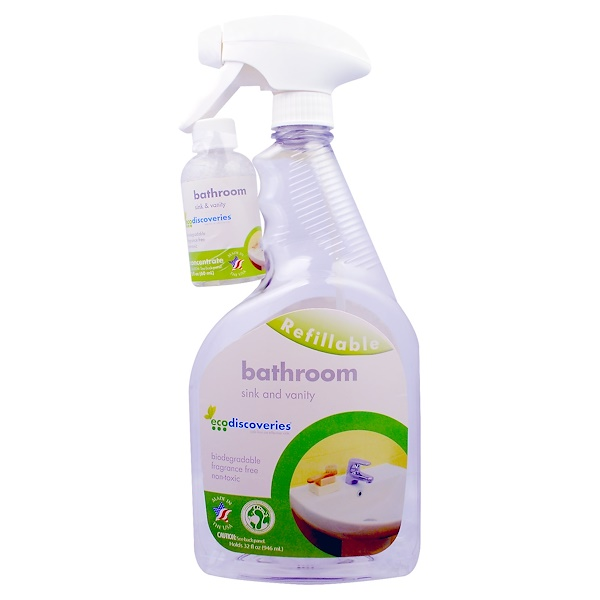 EcoDiscoveries, Bathroom Concentrate, Sink and Vanity, 2 oz Concentrate w/ 1 Spray Bottle (Discontinued Item)