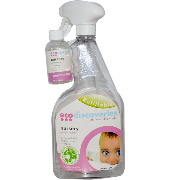 EcoDiscoveries, Nursery Gentle Cleaner, 2  fl oz (60 ml) Concentrate w/ 1 Spray Bottle (Discontinued Item)