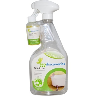 EcoDiscoveries, Tub & Tile, Soap Scum Remover, 2  fl oz (60 ml) Concentrate w/ 1 Spray Bottle