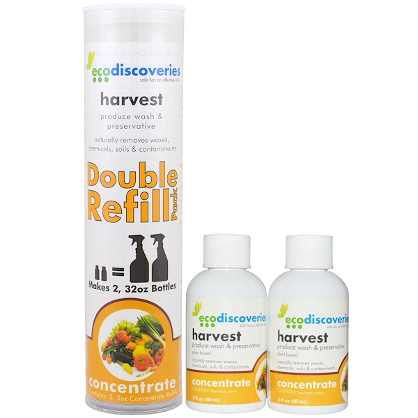 EcoDiscoveries, Harvest, Produce Wash & Preservative, Double Refill Pack, 2 Bottles, 2 fl oz (60 ml) (Discontinued Item)