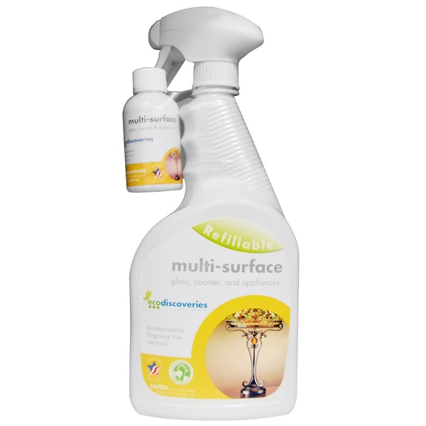 EcoDiscoveries, Multi-Surface Cleaner, 2 fl oz (60 ml) Concentrate w/ 1 Spray Bottle (Discontinued Item)