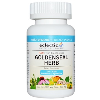 Eclectic Institute, Goldenseal Herb, Raw, 300 mg, 100 Non-GMO Veg Caps