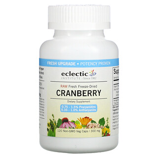 Eclectic Institute, Raw Fresh Freeze-Dried, Cranberry, 300 mg, 120 Non-GMO Veg Caps