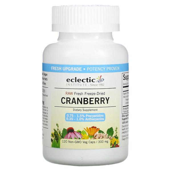 原生新鲜冻干,蔓越莓,300 毫克,120 粒 Non-GMO 素食胶囊