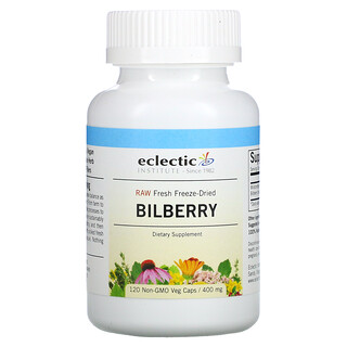 Eclectic Institute, Raw Fresh Freeze-Dried, Bilberry, 400 mg, 120 Non-GMO Veg Caps