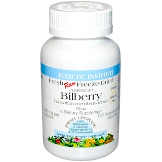 Eclectic Institute, American Bilberry, 400 mg, 120 Veggie Caps