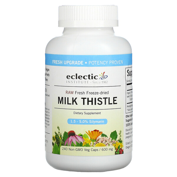 Eclectic Institute, Raw Fresh Freeze-Dried, Milk Thistle, 600 mg, 240 Non-GMO Veg Caps