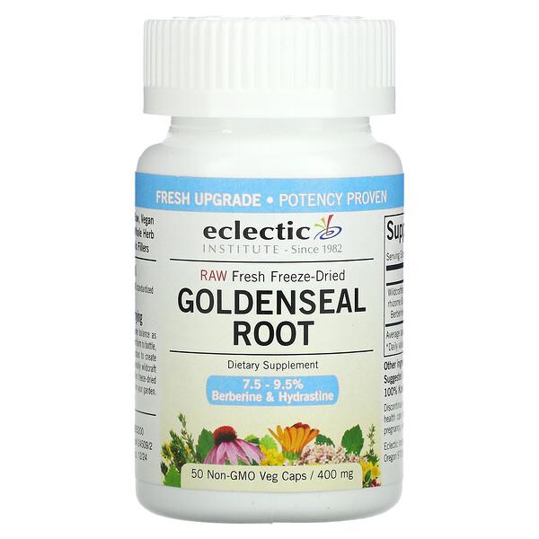 Raw Fresh Freeze-Dried, Goldenseal Root, 400 mg, 50 Non-GMO Veg Caps