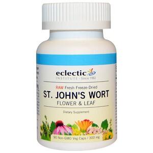 Эклектик Институт, Raw Fresh Freeze-Dried, St. John's Wort, 300 mg, 90 Non-GMO Veg Caps отзывы