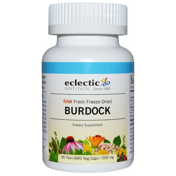 Eclectic Institute, Burdock, Crudas, 500 mg, 90 Cápsulas Vegetarianas No OMG