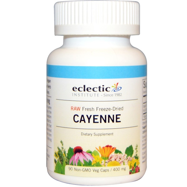 Eclectic Institute, Cayenne, 400 mg, 90 Non-GMO Veg Caps (Discontinued Item)